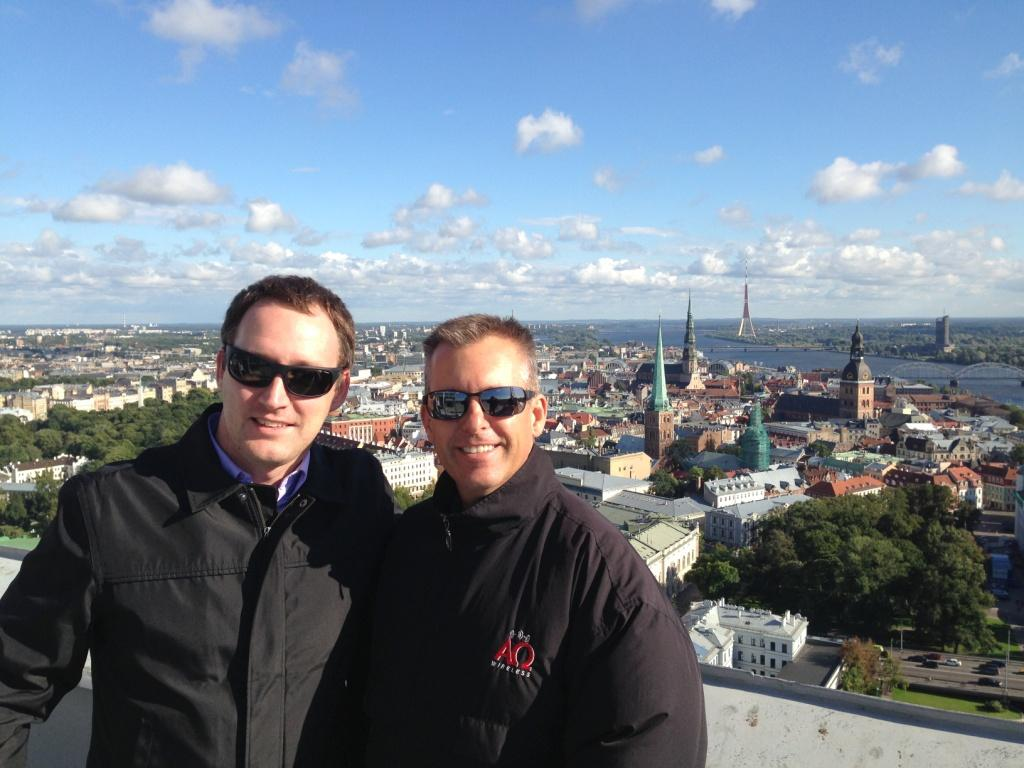From left: SAF North America director Kristaps Rikans with President of Alpha Omega Wireless Joe Wargo