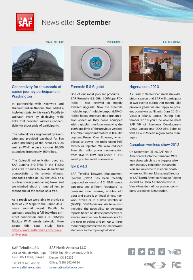 SAF Newsletter September 2013